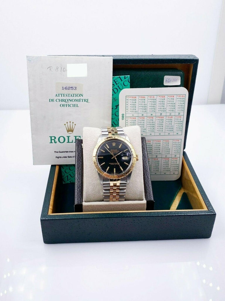 Rolex Datejust Thunderbird 16253 18 Karat Yellow Gold Stainless Steel Box Papers For Sale 2