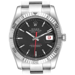 Rolex Datejust Turnograph Black Dial Steel Men's Watch 116264 Box Papers