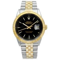 Rolex Datejust TurnOGraph Steel 18 Karat Yellow Gold Black Dial Mens Watch 16263