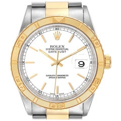 Rolex Datejust Turnograph Steel Yellow Gold White Dial Men's Watch 16263