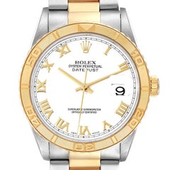 Rolex Datejust Turnograph Steel Yellow Gold White Dial Watch 16263 Box Papers