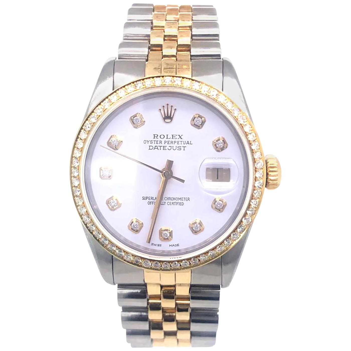 Rolex Datejust Two-Tone Diamond Bezel Diamond Dial Stainless Steel 16030
