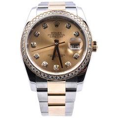 Rolex Datejust Two-Tone Factory Diamond Dial/Bezel Watch Ref 116243