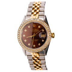 Rolex Datejust Two-Tone Gold Steel Jubilee Custom Diamond Chocolate Dial Watch