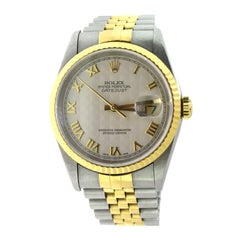 Rolex Datejust Two Tone Gold or Steel Ivory Pyramid Roman Dial Model 16233 Watch