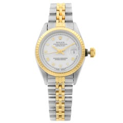 Rolex Datejust Two-Tone White Roman Dial Automatic Ladies Watch 69173