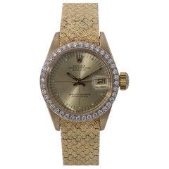 Rolex Datejust Vintage 6900 18 Karat Factory Diamond Year 1982 Ladies Watch