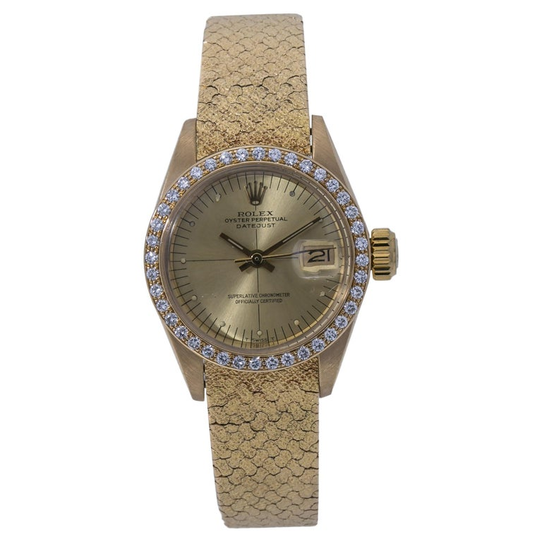 Rolex Datejust Vintage 6900 18K Factory Diamond Year 1982 Lady's Watch For Sale