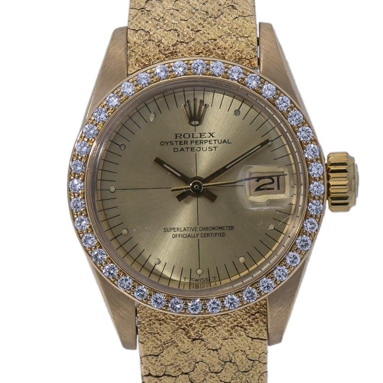 ROLEX DATEJUST VINTAGE 6900 18K FACTORY DIAMOND Year.1982 LADY'S WATCH 26MM