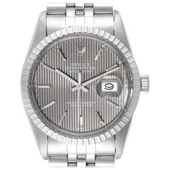 Rolex Datejust Vintage Grey Tapestry Dial Men's Watch 16030 Box Papers