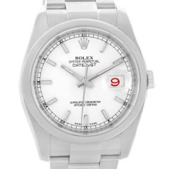 Rolex Datejust White Baton Dial Watch 116200 Box Papers