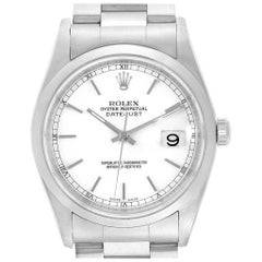 Rolex Datejust White Dial Steel Men's Watch 16200 Box Papers