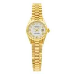Rolex Datejust White Roman Dial Fluted Bezel Yellow Gold Ladies Watch 69178