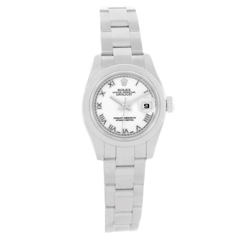 Rolex Datejust White Roman Dial Oyster Bracelet Ladies Watch 179160 For Sale 6
