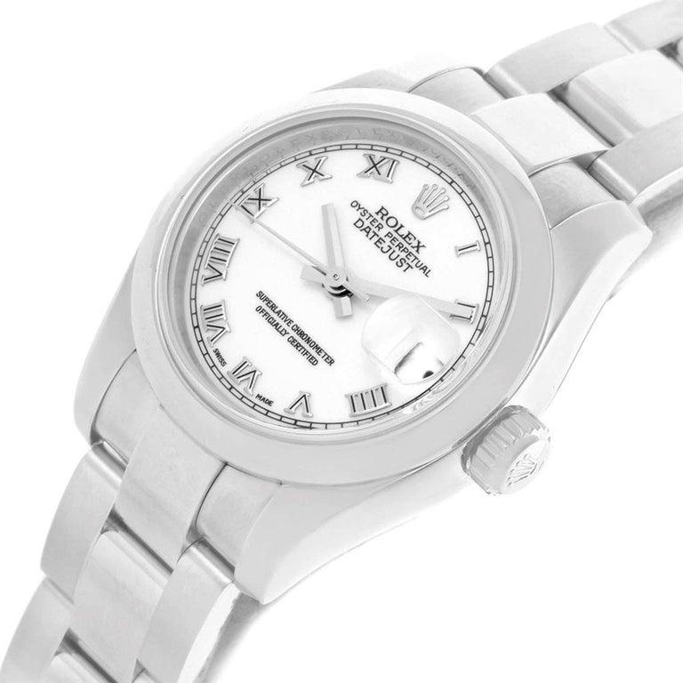 Rolex Datejust White Roman Dial Oyster Bracelet Ladies Watch 179160 For Sale 7