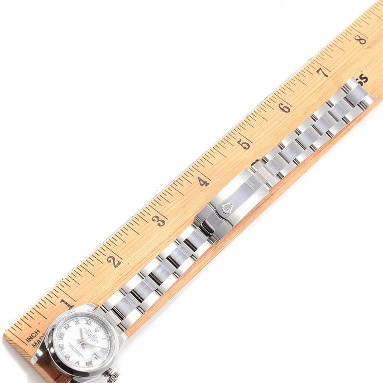 Rolex Datejust White Roman Dial Oyster Bracelet Ladies Watch 179160 For Sale 8