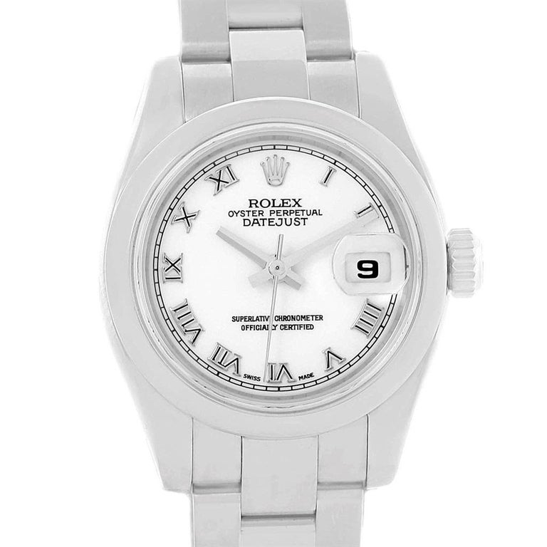 Rolex Datejust White Roman Dial Oyster Bracelet Ladies Watch 179160. Officially certified chronometer automatic self-winding movement. Stainless steel oyster case 26 mm in diameter. Rolex logo on a crown. Stainless steel smooth bezel. Scratch