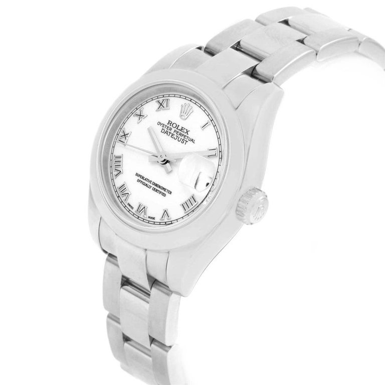 Rolex Datejust White Roman Dial Oyster Bracelet Ladies Watch 179160 In Excellent Condition For Sale In Atlanta, GA