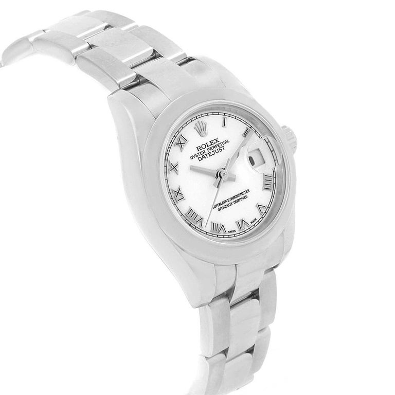 Women's Rolex Datejust White Roman Dial Oyster Bracelet Ladies Watch 179160 For Sale