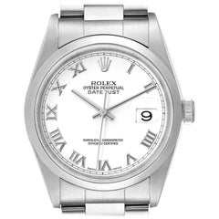 Rolex Datejust White Roman Dial Oyster Bracelet Steel Men's Watch 16200 Box