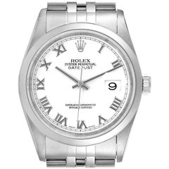 Rolex Datejust White Roman Dial Oyster Bracelet Steel Men's Watch 16200
