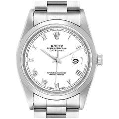 Rolex Datejust White Roman Dial Oyster Bracelet Steel Men's Watch 16200