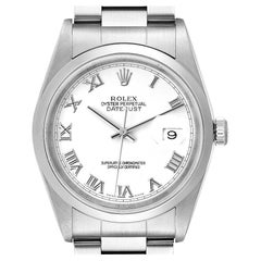 Rolex Datejust White Roman Dial Oyster Bracelet Steel Mens Watch 16200