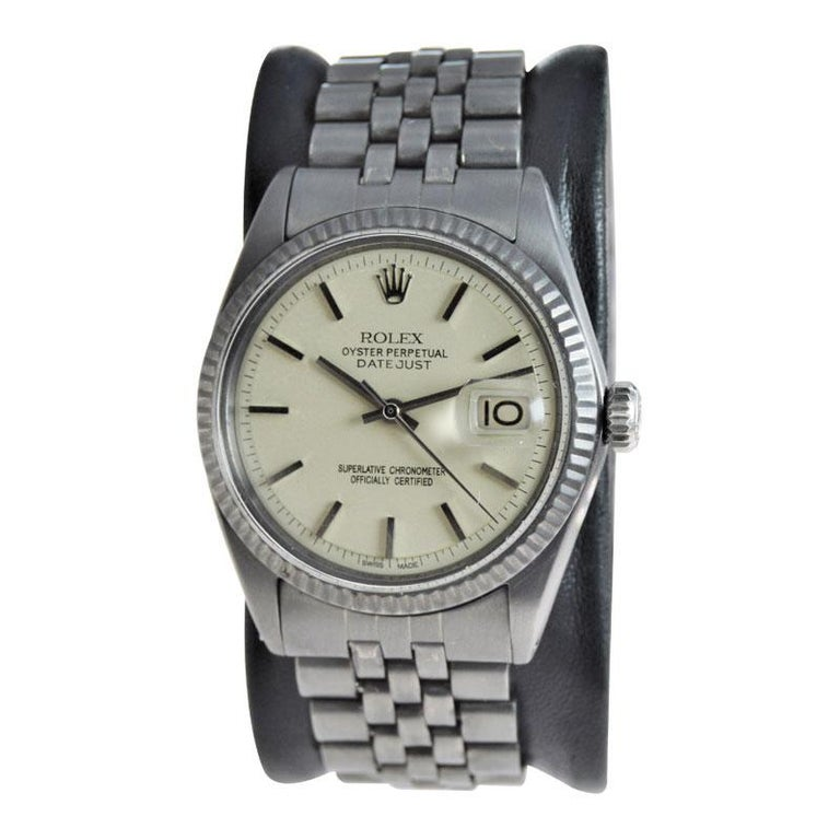 FACTORY / HOUSE: STYLE / REFERENCE: METAL / MATERIAL: Stainless Steel CIRCA / YEAR: 1969-70 DIMENSIONS / SIZE: 43mm X 36mm MOVEMENT / CALIBER: Perpetual Winding / 23 Jewels  DIAL / HANDS: Custom