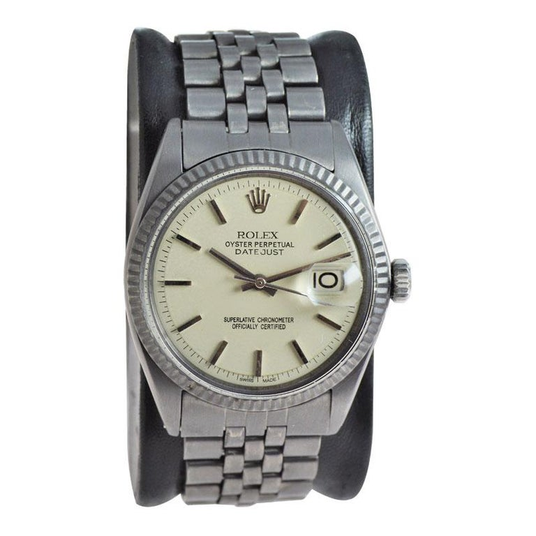 Rolex Datejust with Custom and Original Dial with Carbonized Finish 1969 or 1970 In Excellent Condition For Sale In Venice, CA