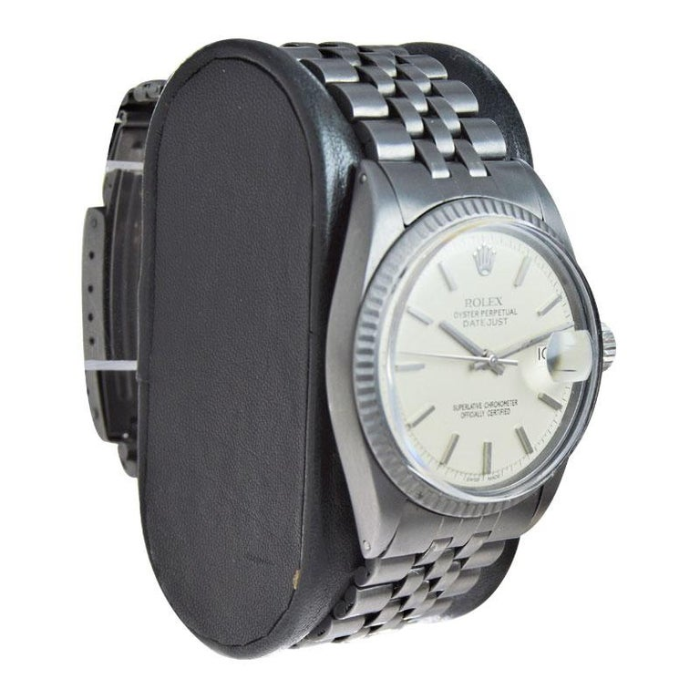 Women's or Men's Rolex Datejust with Custom and Original Dial with Carbonized Finish 1969 or 1970 For Sale