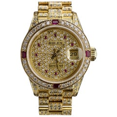 Rolex Datejust Yellow Gold Ruby Watch