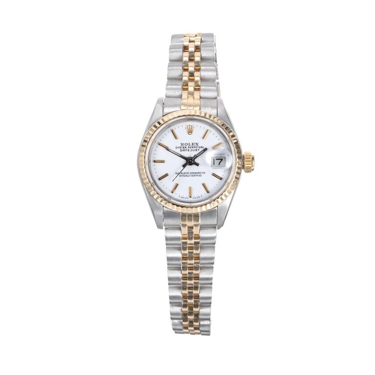 Rolex 18k yellow gold and steel Datejust wristwatch. Automatic with a custom redone white Rolex dial. Model 69173.   Steel  18k yellow gold Length: 6.5 inches Links available 53.0 grams Length: 32.51mm Width: 26mm Band width at case: 14mm Case
