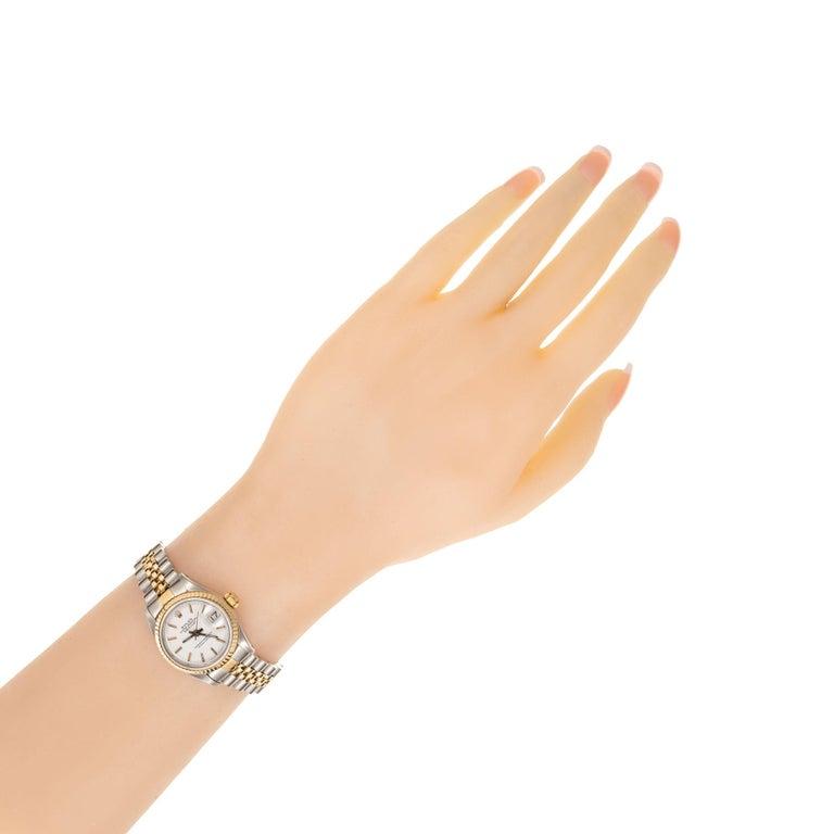 Women's Rolex Datejust Yellow Gold Steel Custom Yellow Dial Wristwatch Ref 69173 For Sale