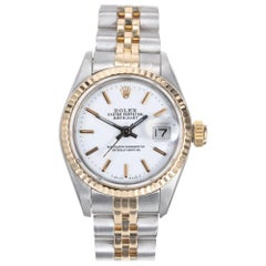 Rolex Datejust Yellow Gold Steel Custom Yellow Dial Wristwatch Ref 69173