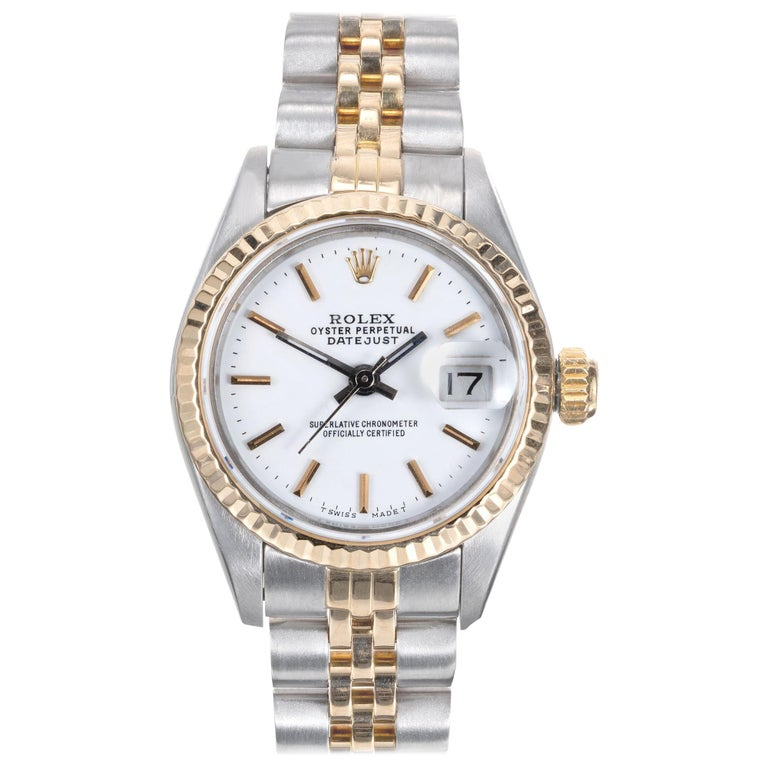 Rolex Datejust Yellow Gold Steel Custom Yellow Dial Wristwatch Ref 69173 For Sale