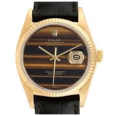 Rolex Datejust Yellow Gold Tiger Eye Dial Vintage Men's Watch 16018