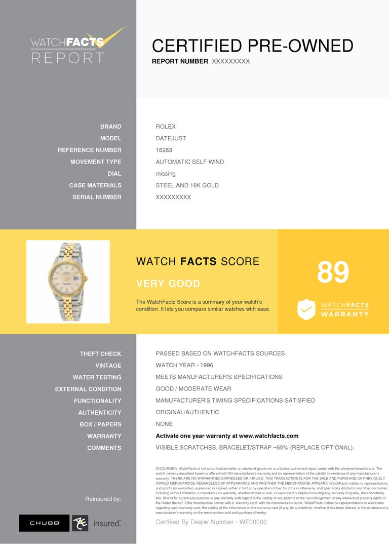 Rolex Datejust Reference #:16263. Rolex Datejust 16263 Men's Automatic Watch Two Tone 18K Yellow Gold 36MM. Verified and Certified by WatchFacts. 1 year warranty offered by WatchFacts.