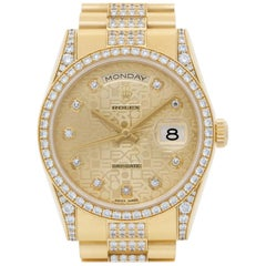 Rolex Day-Date 118388 18 Karat All Original Diamonds Gold Dial Automatic Watch