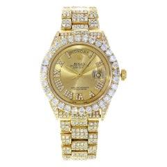 Rolex Day Date 1803 Gold Champagne Dial Custom Diamond 16 Carat Men's Watch