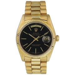 Rolex Day-Date 18038, Black Dial, Certified and Warranty