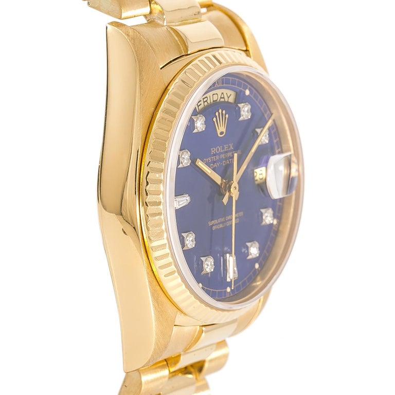 Contemporary Rolex Day-Date 18038 Men's Automatic Watch Blue Dial 18 Karat Yellow Gold For Sale
