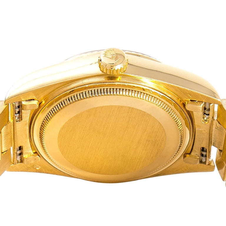 Rolex Day-Date 18038 Men's Automatic Watch Blue Dial 18 Karat Yellow Gold In Good Condition For Sale In Miami, FL