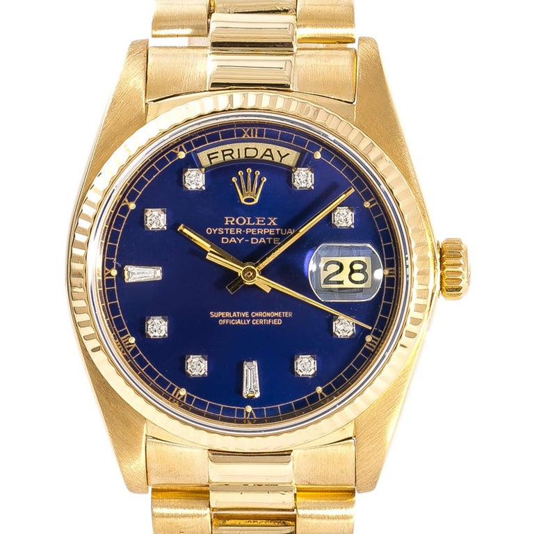 Women's Rolex Day-Date 18038 Men's Automatic Watch Blue Dial 18 Karat Yellow Gold For Sale