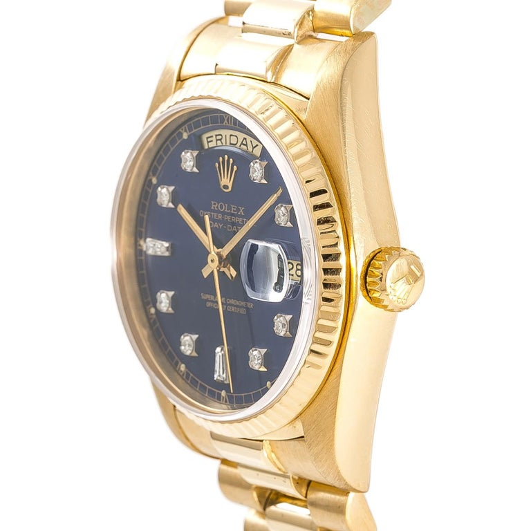 Rolex Day-Date 18038 Men's Automatic Watch Blue Dial 18 Karat Yellow Gold For Sale 1