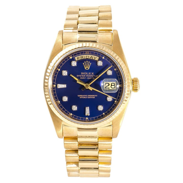 Rolex Day-Date 18038 Men's Automatic Watch Blue Dial 18 Karat Yellow Gold For Sale