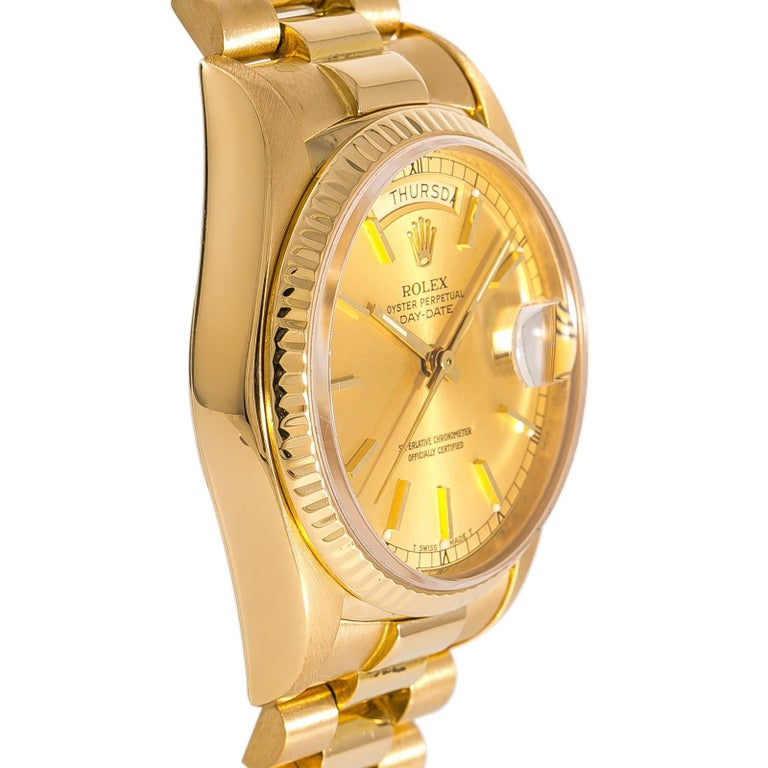 Contemporary Rolex Day-Date 18038 Men's Automatic Watch Champagne Dial 18 Karat YG For Sale