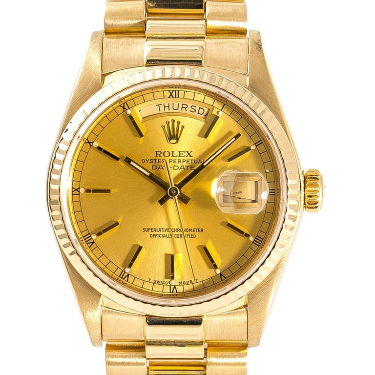 Women's Rolex Day-Date 18038 Men's Automatic Watch Champagne Dial 18 Karat YG For Sale