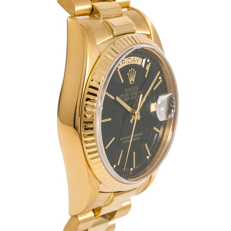 Contemporary Rolex Day-Date 18038 Single Men's Automatic 18 Karat Gold Black Dial Watch For Sale