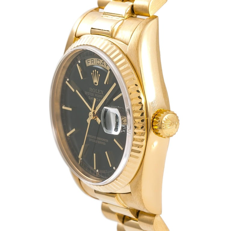 Rolex Day-Date 18038 Single Men's Automatic 18 Karat Gold Black Dial Watch For Sale 1