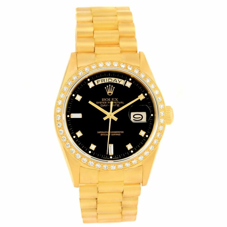 Rolex Day-Date 18038 Single Men's Automatic 18 Karat Gold Black Dial Watch For Sale 2